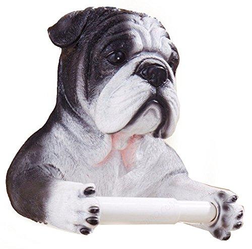 3D Bulldog End Wall Mounted Single Toilet Paper Roll Holder Dispenser