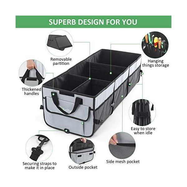 51SFFGXn71L AojSup Extra großer Kofferraum Organizer 92L mit Deckel und Kühltasche, Faltbare Auto kofferraumtasche 1-3…