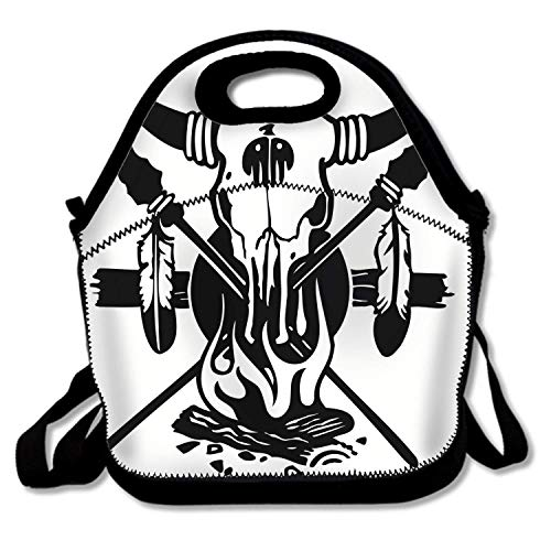 Boxers Indian (American Indian Skull Insulated Lunch Bag - Neoprene Lunch Bag - Large Reusable Lunch Tote Bags For Women, Teens, Girls, Kids, Baby, Adults Portable Carry)