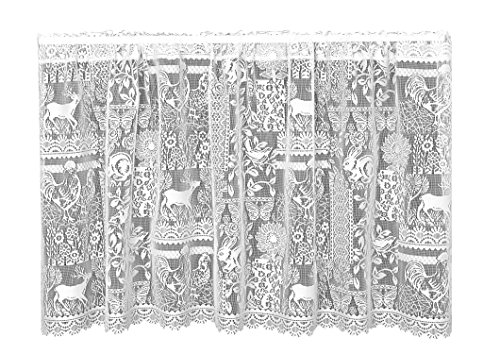 Heritage Lace Woodland Patch Tier, 60 by 30-Inch, White (Curtain Lace Woodland)