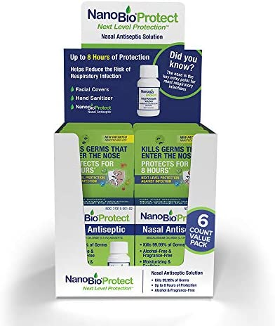 NanoBio Protect Nasal Antiseptic 6pk | Helps Reduce Risk of Respiratory Infection | Kills 99.99% of Germs | 8 Hour Protection | Safe for Kids, Daily Use | 40+ Uses | FSA/HSA Eligible