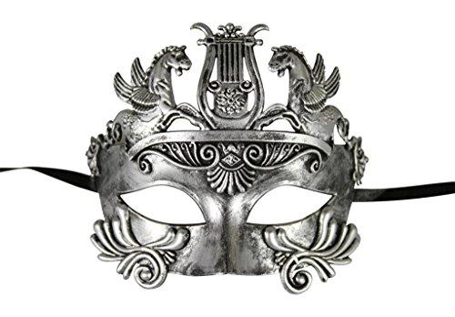 [KAYSO INC Roman Gladiator Men's Venetian Masquerade Mask, Dark Rustic Silver] (Cheap Roman Costumes)