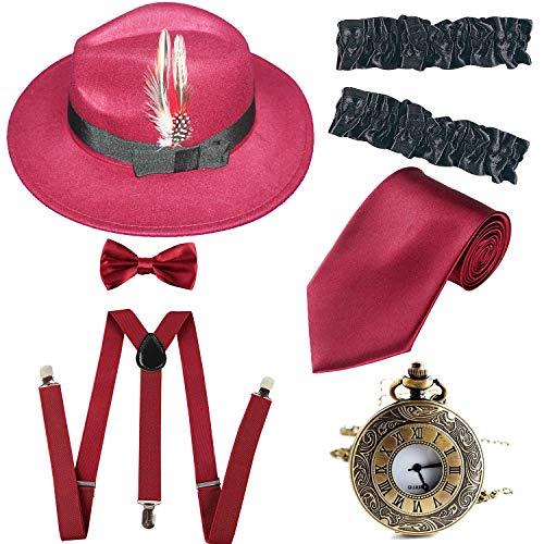 Men's Roaring 1920s Set Manhattan Fedora Hat,Y-Back Suspenders & Pre Tied Bow Tie, Gangster Tie & Fake Mustache (OneSize, Z-Burgundy) from ZeroShop