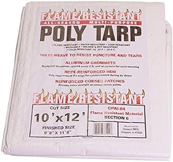 100/% Waterproof 10x20 Flame Resistant Poly Tarp Tarp Nation Mildew /& Rot Resistant Washable