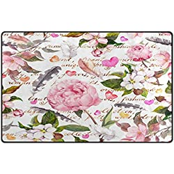 WOZO Shabby Chic Peony Flowers Feather Area Rug Rugs Non-Slip Floor Mat Doormats Living Room Bedroom 31 x 20 inches