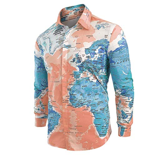 TIFENNY Lapel Button Down Shirts for Men Casual World Map Print with Button Long Sleeve Shirt 2019 New Tops Blouse Dark Blue