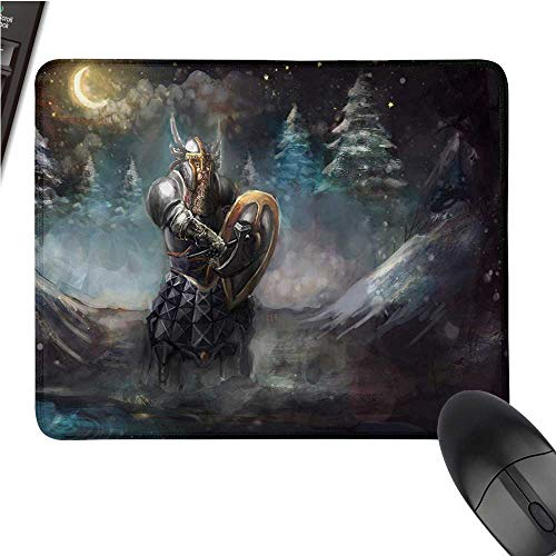 """FantasyOffice Mouse PadArtistic Illustration of Medival Dwarf Knight in Gothic Shield in Mysterious ForestWaterproof Mice Pad 9.8""""x11.8""""Multicolor"""