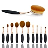 Makeup Brush Set,Sunroyal Toothbrush Contour Makeup Brush Sets with Silicone Cleaning Mat Tools Foundation Contour Powder Eyebrow Blush Eyeshadow Brush Set (Black10pcs)