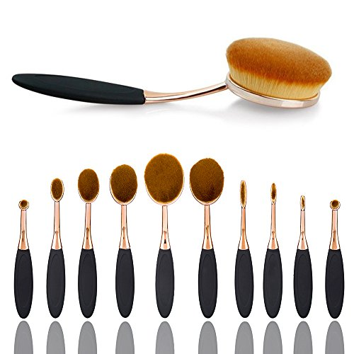 Makeup Brush Set,Sunroyal 10 pcs Premium Synthetic Kabuki Concealer Brush Set for Face and Eyes Soft Cosmetics Foundation Blending Blush Eyeliner Liquid Powder Cream Lip Brush Kit (10pcs, Brown Black)