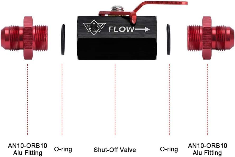 AN6, Blue PQY AN6 Shut Off Valve Fitting 6AN-6AN Male Shut Off Valve Fuel Fitting