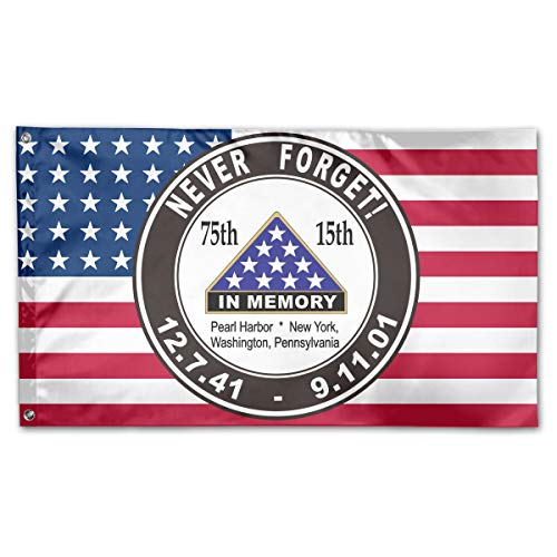 TTHOMR Pearl Harbor 911 Anniversary Never Forget USA Flag Home Garden Flag Yard Outdoor Indoor Decorative Flag 3x5 Ft ()
