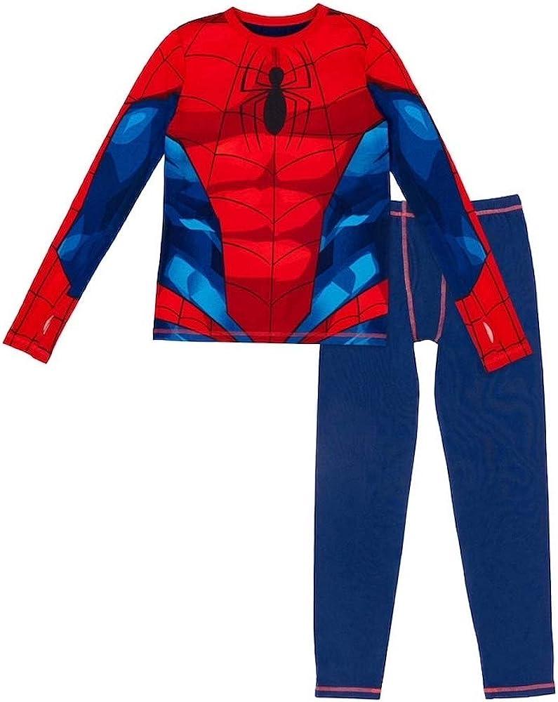 Medium 8-10 Cuddl Duds Spider-Man Boy Thermal Underwear 2-Piece Set Red