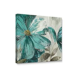 Niwo Art TM - Teal Flower A, Floral painting Artwork - Giclee Wall Art for Home Decor,Office or Lobby, Gallery Wrapped, Stretched, Framed Ready to Hang (20x20x1.5)