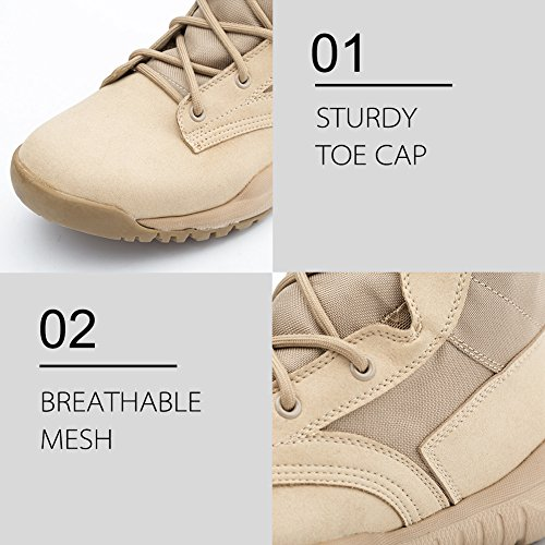 Pictures of IODSON US Mens' Ultra-Light Combat Boots Beige 9.5 M US 4