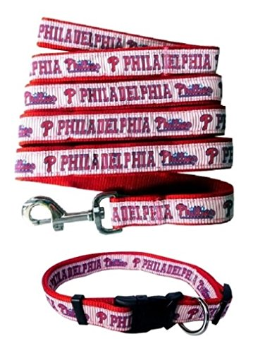 Philadelphia Phillies Nylon Collar and Matching Leash for Pets (MLB Official by Pets First) Size Large (Philadelphia Phillies Dog Collar)