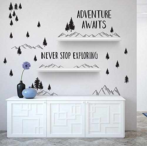 Better Than Paint Permanent Wall Decor - Applies Like Decals, No Vinyl Stickers | Adventure Quote Set with Mountains and Trees for Walls, Nursery Decor and DIY Room Decorations | By Paper Riot Co