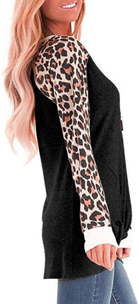 KANGMOON Women Casual Sweatshirts Long Sleeve Leopard Print Tops Crew Neck Raglan Shirts Lightweight Loose Fit Pullover
