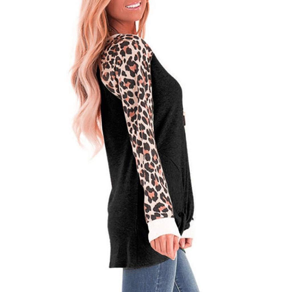 Meikosks Womens Leopard Long Sleeve T Shirt O-Neck Splicing Pullover Knotted Blouses Tops