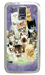 10 Kittens PC Case Cover for Samsung S5 and Samsung Galaxy S5 Transparent