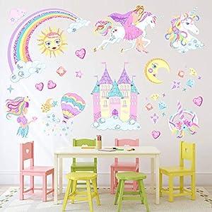 Unicorn Wall Decals,Unicorn Wall Sticker Decor with Heart Flower Birthday Christmas Gifts for Boys Girls Kids Bedroom Decor Nursery Room Home Decor