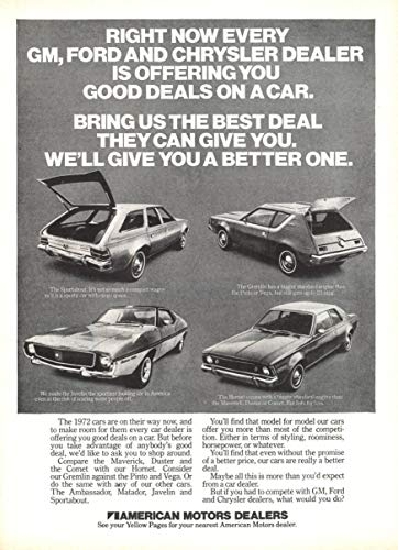 1971 AMC SPORTABOUT/GREMLIN/HORNET/JAVELIN * Right now every GM, Ford and Chrysler dealer is offering you.* VINTAGE NON-COLOR AD - USA - GREAT ORIGINAL !!