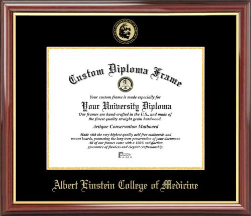Albert Einstein College of Medicine - Embossed Seal - Mahogany Gold Trim - Diploma Frame -
