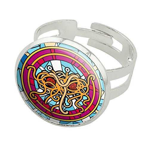 Meatballs And Spaghetti Costume (Flying Spaghetti Monster Stained Glass Silver Plated Adjustable Novelty Ring)