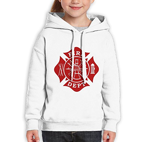 Price comparison product image Vintopia Youth Fire Dept Maltese Cross Classic Hiking White Hoody M