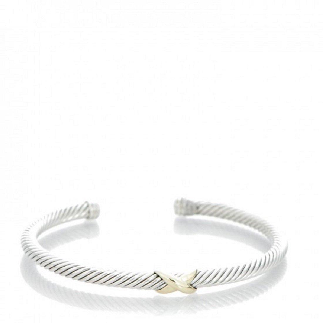 David Yurman Women's X-Station Cable Bracelet Medium Silver & Gold by David Yurman