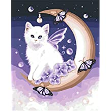 CaptainCrafts New Paint by Number Kits - Angel Cat 16x20 inch Frameless - Diy Painting by Numbers for Adults Beginner Kids