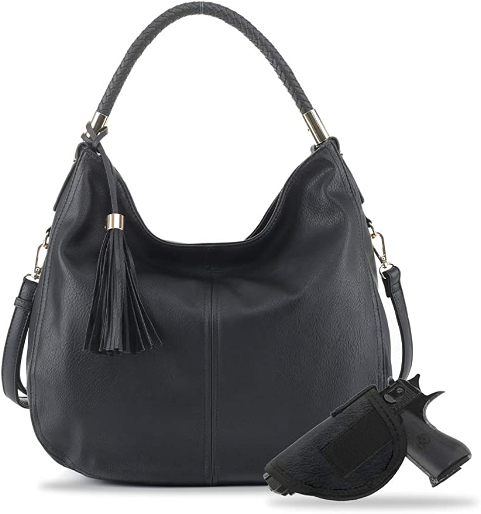 Jessie & James Large Concealed Carry PU leather Hobo Shoulder Bag For Women With Crossbody Strap and Detachable Holster