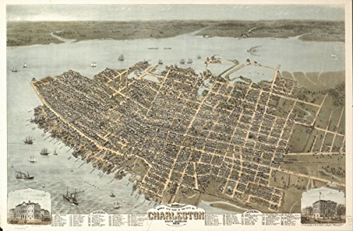 Map: 1872 Bird's eye view of the city of Charleston, South Carolina 1872|Charleston|Charleston SC|South Carolina|