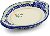 Polmedia Polish Pottery Polish Pottery 8½-inch Saucer (Spring Flowers Theme) + Certificate of Authenticity