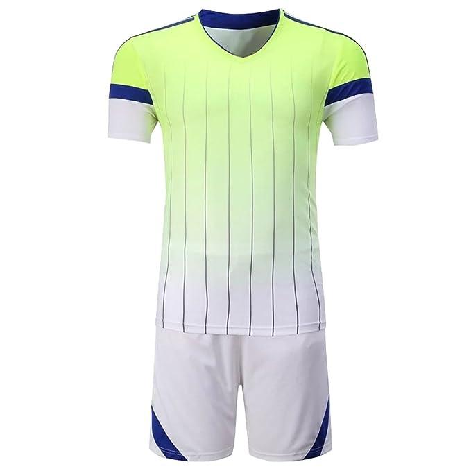 KINDOYO Equipo de Manga Corta de fútbol Traje de los Hombres Traje de Manga Corta Camiseta Trajes de Entrenamiento de Partido de fútbol Uniformes: ...