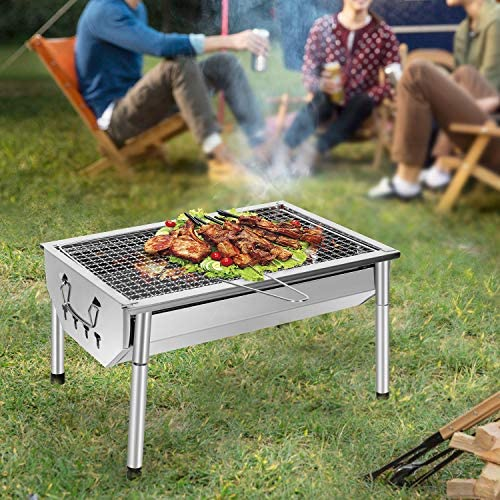 SunJas Barbecue Charbon de Bois INOX Ajustable Barbecue Démontable en Acier Portable BBQ Exterieur Grille sur Pied pour Jardin Pique-Nique Camping