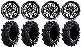 Bundle - 9 Items: MSA Black Vibe 14'' ATV Wheels 32'' Intimidator Tires [4x137 Bolt Pattern 10mmx1.25 Lug Kit]
