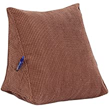 """EONSHINE Fluffy Soft Down Alternative Filled Triangle Wedge Cushion Pillow for Bed Sofa Backrest Reading, Corduroy, Pack of 1 (15.7x12x8"""", Khaki)"""