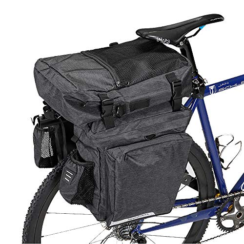 WOTOW Bike Pannier Trunk Bag, 36L Roomy Bicycle Storage Panniers 3 in 1 Multi Function Rear Seat Carrying Pack w/Bottle Holder Rear Light Clip for Commuter Cycling Hiking Travelling Camping