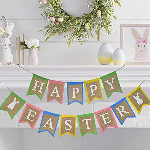 (Easter Burlap Banner Decorations - 2Packs, Colorful Happy Easter Bunny Bunting Garland Rabbits Banner for Gift Spring Party Supplies Photo Prop Home Outdoor Indoor Decor)
