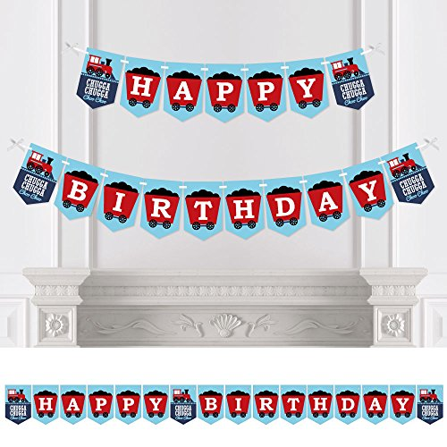 Big Dot of Happiness Railroad Party Crossing - Steam Train Birthday Party Bunting Banner - Birthday Party Decorations - Happy Birthday -