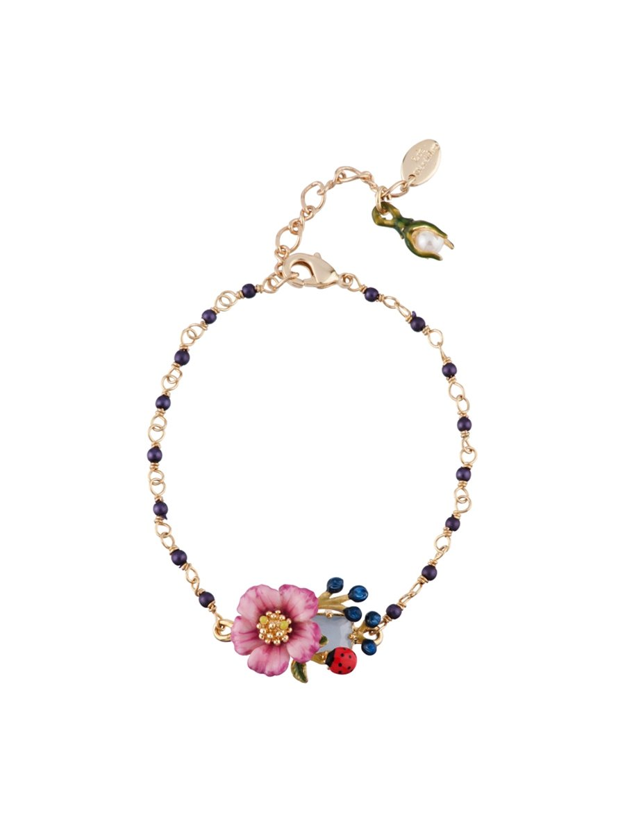 Les Néréides ORIENTAL ROSE FACETED GLASS PINK FLOWER AND BERRIES PEARLY BRACELET - Fuchsia - O/S by Les Néréides