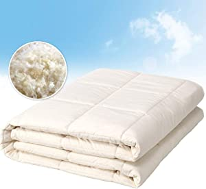 100% Pure Wool Filled Comforter for All Seasons, Encased in 100% Cotton Down Alternative Comforter, Duvet Insert, Natural White, Woolmark Certified (Full/Queen)