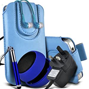 Sony Xperia S Lt26i Protective PU Leather Slip cuerda del tirón magnético En la bolsa del lanzamiento rápido con Mini capacitiva lápiz óptico retráctil, 3.5mm en auriculares del oído, Mini recargable altavoz de la cápsula, Micro USB CE aprobado 3 Pin Cargador (Baby Blue)