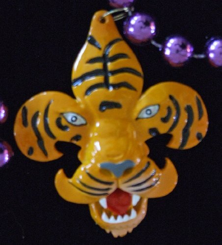 - Fleur de Lis Tiger Mardi Gras Beads Necklace New Orleans Mardi Gras Spring Break Cajun Carnival Festival by Mardi Gras World