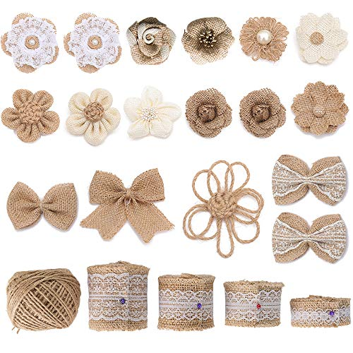 Flower Ribbon Decor - Natural Burlap Flowers Set, Include Lace Burlap Ribbon Roll Handmade Rustic Burlap Flowers Burlap Bow-Knot Hemp Rope Roll Twine Ribbon Wedding Home Decor DIY Craft Supplies