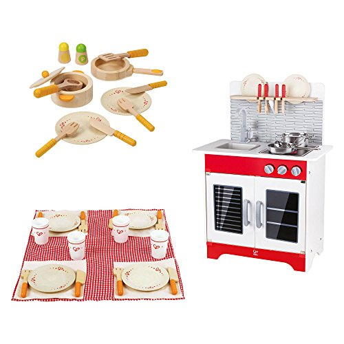 Hape Wooden City Cafe Pretend Play Kitchen + Dish and Utensil Set + Picnic Set by Hape
