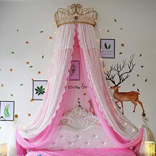 レースベッドキャノピー,皇太子妃 ダブル カラー ベッド カーテン 装飾的なドレープメタルクラウンと寝室のためのライトと裁判所の蚊帳-a