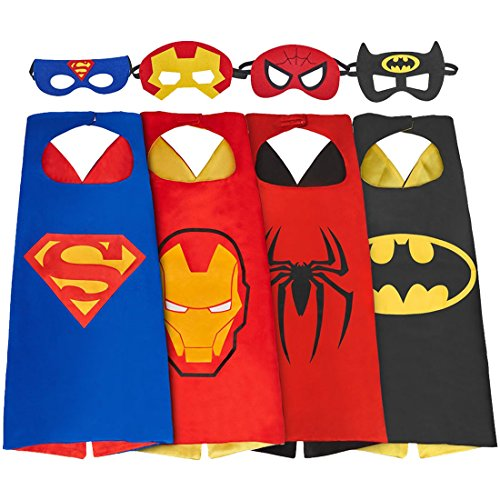 Asgift Comics Cartoon Hero Cape and Mask Costumes Set for Kids Dress Up Party
