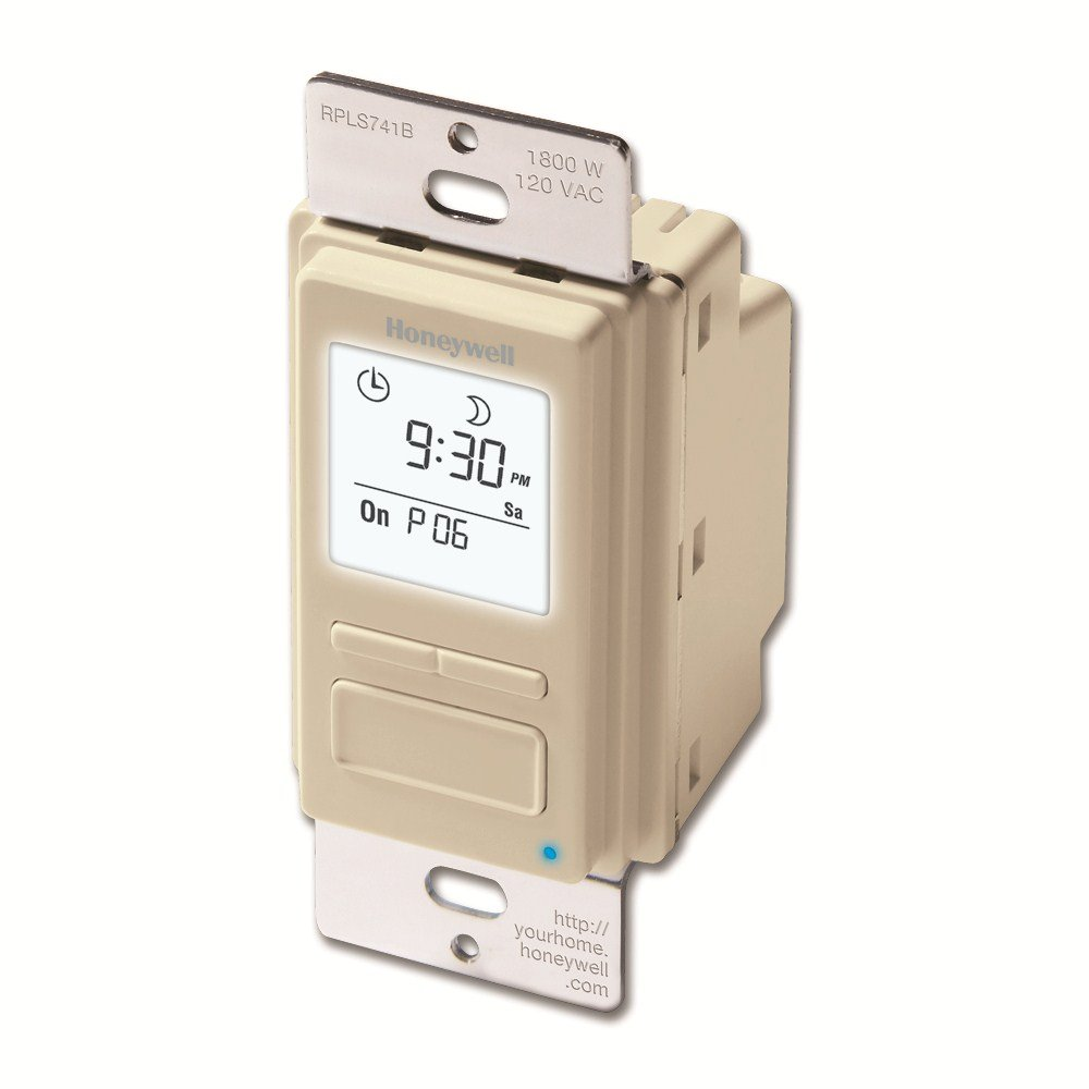 Honeywell RPLS741B1007/U EconoSWITCH 7-Day Programmable Timer for Lights, Light Almond