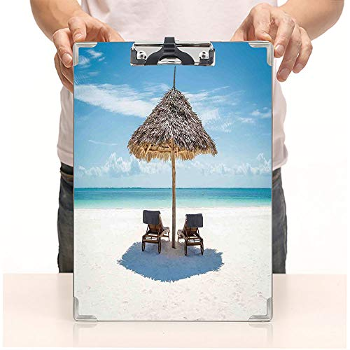 Custom Printing Clipboard,Hardboard Clipboard Pack,Facing Eastern Ocean Under a Thatched Umbrella,Office School Workers Business use (Umbrellas Sale Thatched)